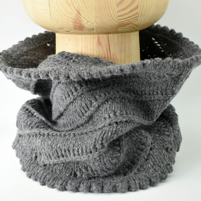 Hand Knitted Cowl Infinity Scarf - Charcoal Grey Cotton Cashmere Blend