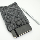 Hand knitted aran design pouch in Charcoal grey