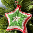 Hand knitted star - Christmas Decorations - Red, Green and White