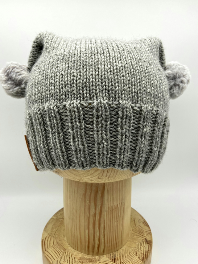 Hand Knitted pussy hat in grey with fluffy pompoms - Adult small