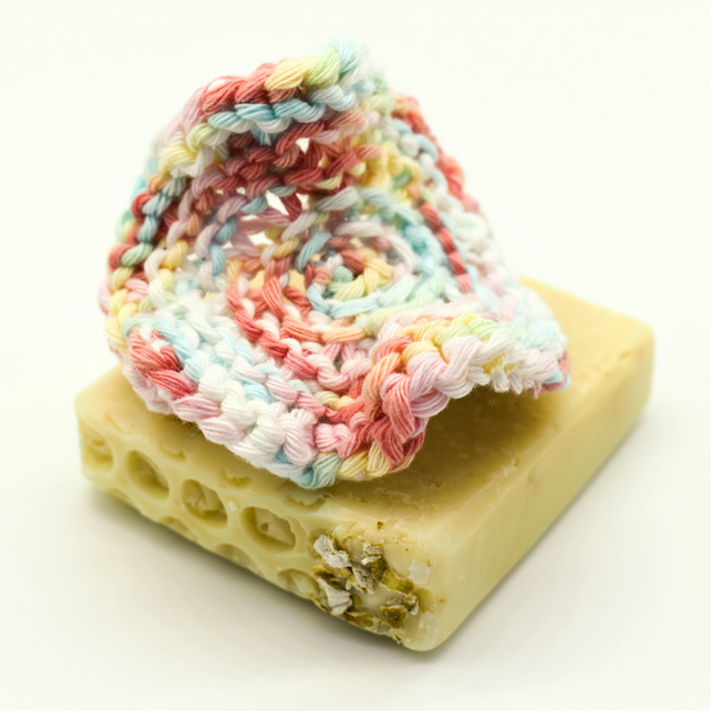 Hand knitted cotton facial scrubbie - pastel colours