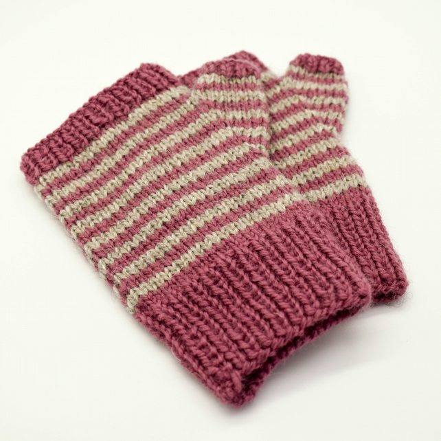 Hand Knitted fingerless mittens - Small - pink and grey stripes
