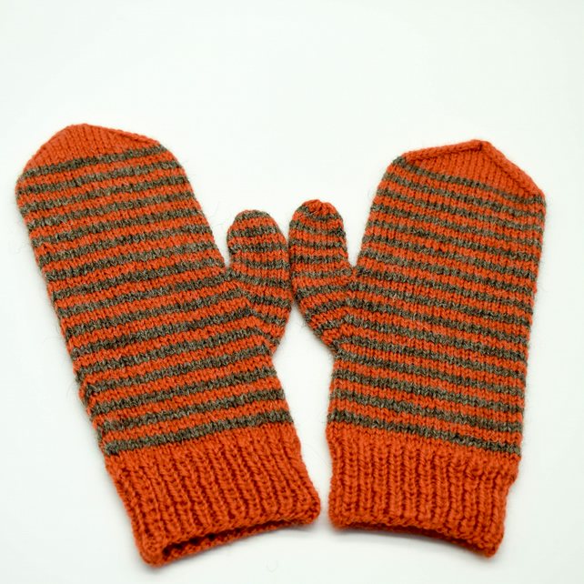 Hand Knitted mittens - Large - Rust orange and dark grey stripes