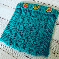 "SALE - Hand knitted aran design cushion cover 9"" x 9"" - Turquoise"