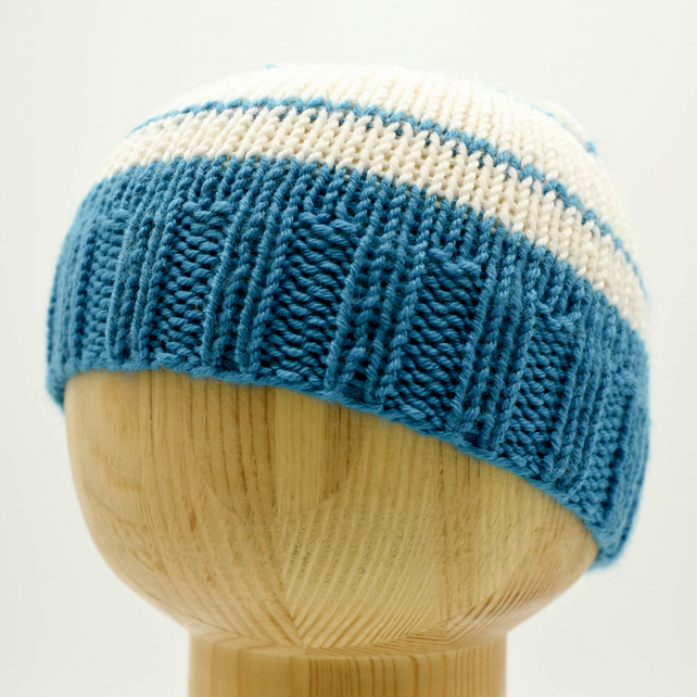 Hand Knitted hat in turquoise and white stripes - Newborn