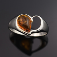 Sterling silver and natural Baltic amber ring, gemstone ring, ring size  O
