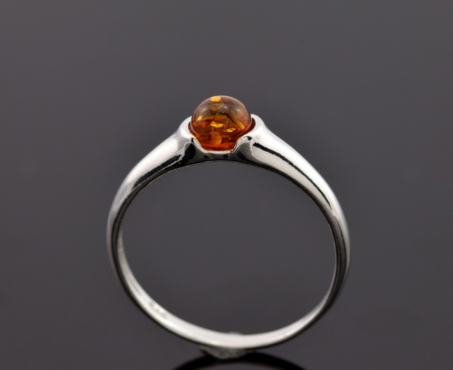 sterling silver baltic amber ring Sterling silver ring with natural Baltic amber gemstone ring honey amber ring amber ring midi ring
