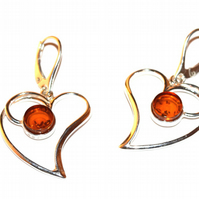 Sterling silver earring with natural honey Baltic amber