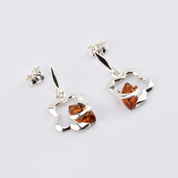 Sterling silver earrings with natural Baltic amber, amber drop earrings, screws