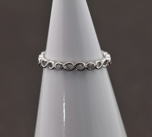 Silver (925) subtle ring with white zircon - Infinity, band ring, silver ring, s