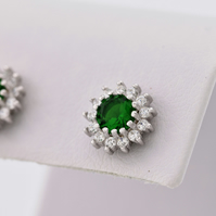 Sterling silver earrings with clear and clear zircon, sterling silver studs