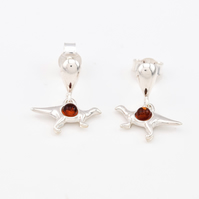 Sterling silver and natural Baltic amber earrings, dinosaur earrings