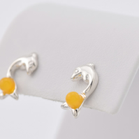 Sterling silver earrings with natural Baltic amber, amber earrings, stud earring
