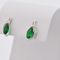 Sterling silver earrings with clear and clear zircon, sterling silver stud
