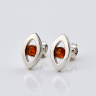 Sterling silver earrings with natural Baltic amber, amber stud earrings, amber