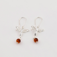 Sterling silver earrings with natural Baltic amber, amber drop earrings, dangle