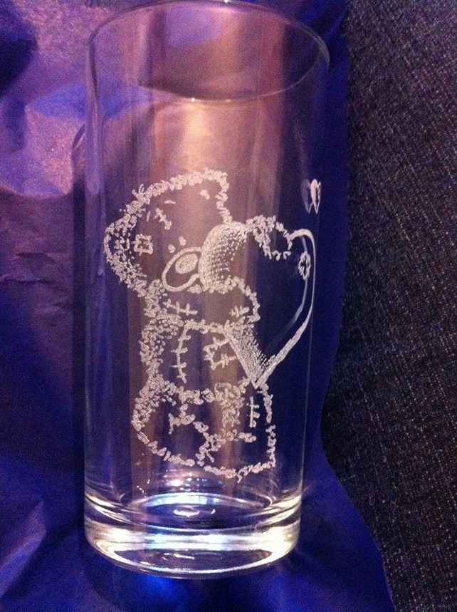 Me to You, Tatty Bear Inspired Hand Engraved Hi-Ball Tumbler Glass,