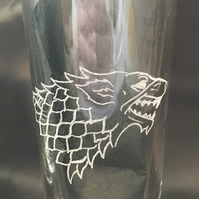Game of Thrones Inspired Hand Engraved Pint Glass, House Stark, Happy To Do Any