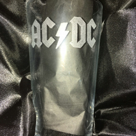 ACDC hand engraved pint glass, can be personalised