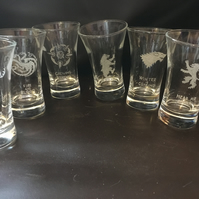 Set of 6, Game of Thrones Inspired Hand Engraved Shot Glasses, Different Houses