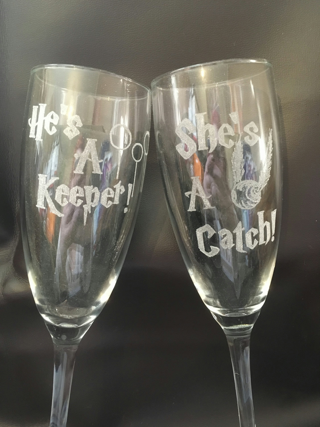 Harry Potter Inspired Hand Engraved Champagne Glasses, Pair, Hes a Keeper, Shes