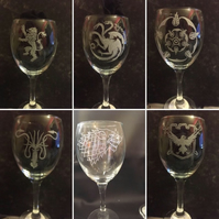 Set of 6 Game of Thrones Inspired Hand Engraved Wine Glasses, Available Singly
