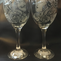 Steampunk Pair of Hand Engraved Wine Glasses, Lady Andy Gentleman, Personalised