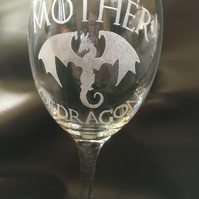 Game of Thrones Inspired Hand Engraved Wine Glass, Mother of Dragons