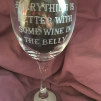 Game of Thrones Quote Inspired Hand Engraved Wine Glass, Wine in the Belly