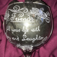 Friendship and Roses Hand Engraved Large Gin Glass, Personalised for FREE