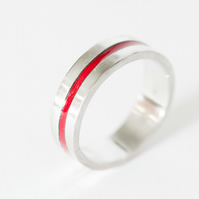 My Red Line Ring, Unique Handmade Enamel Silver Ring