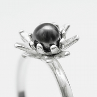 Sterling Silver Lotus Ring with Pearl