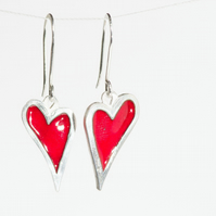My Quirky Heart Studs Red Enamel