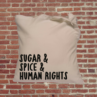 Feminist empowerment tote bag, human rights,