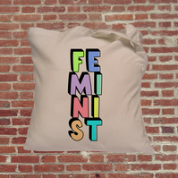 Feminist slogan with box shadow, Independent woman feminist tote bag. Female emp