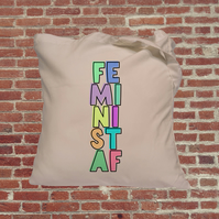 Feminist AF slogan with border, Independent woman feminist tote bag. Female empo