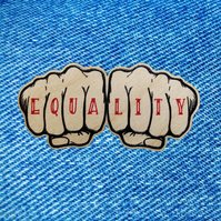 Feminist Equality - wooden pin badge - knuckle tattoo