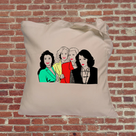 Heathers movie tote bag in colour, cult classic, Winona Ryder, Christan Slater.