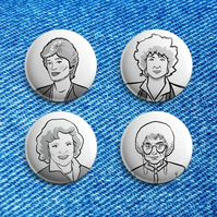 Golden Girls Set of 4 badges, 25mm, pinback badges