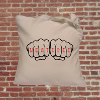 Vegetarian tote bags, Meat Free, knuckle tattoo, tote bag, book bag, gifts for v