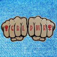 Feminist GRL PWR - Girl Power wooden pin badge - knuckle tattoo