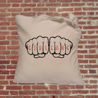 Girl Gang, knuckle tattoo, tote bag, feminist bag, gift