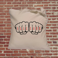 Self care, knuckle tattoo, tote bag, feminist bag, gift