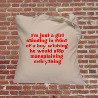 Mansplaining tote bag, feminist, retro font