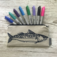 Linen Pencil Case - Mackerel Design, hand printed