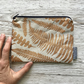 Linen Zip Pouch - Copper Ferns, Screen Printed by Hand