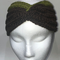 Crochet Twisted Ribbed Ear Warmer Headband in Dark Brown and Green