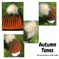 Autumn Tones Ribbed Beanie Hat with Detachable Faux Fur Pompom in Cream Military