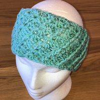 Crochet Ear Warmer Headband in Mint Green with Green Mixed Sparkles Shell Stitch
