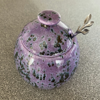 Jam Pot, Sugar Bowl with Lid and Spoon in Speckled Purple Glaze